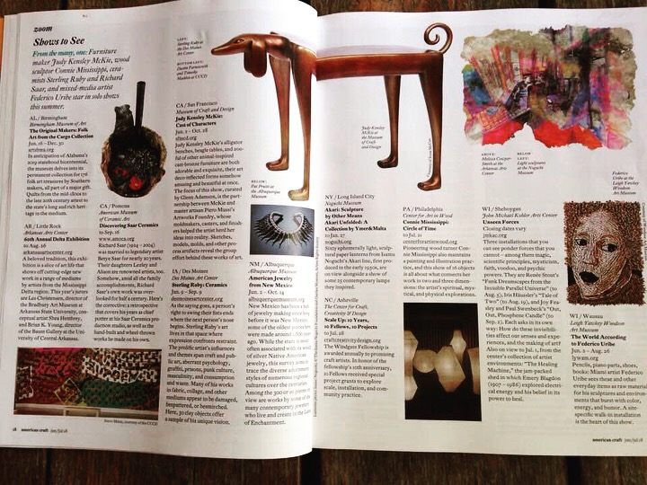 "My work ""With Their Own Hands"" in the upper right in June/July 2018 issue of American Craft accompanying information about the Delta opening at the Arkansas Arts Center."
