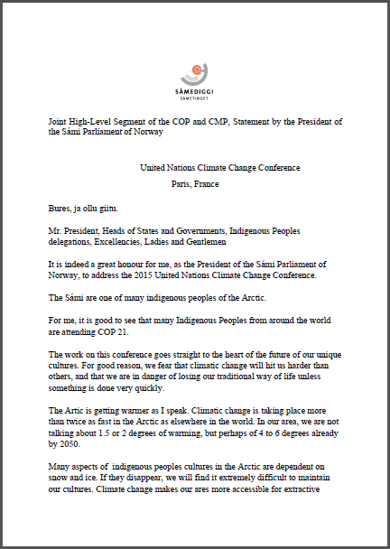 Statement by the President of the Sámi Parliament of Norway - COP 21.jpg