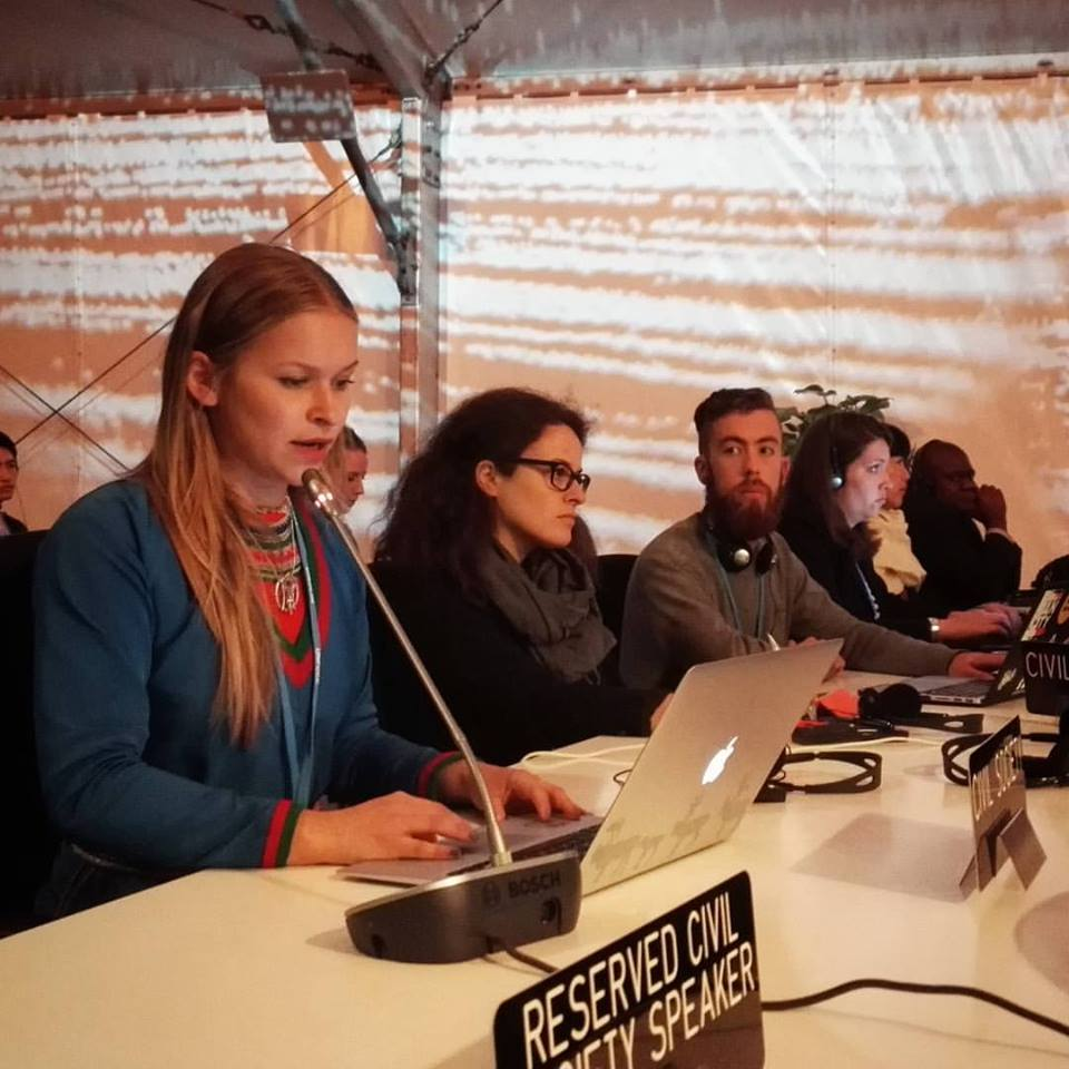 Jannie Staffansson reads the Indigenous Peoples Caucus statement at the APA session of COP22 in Marrakech, Morocco, November 7, 2016