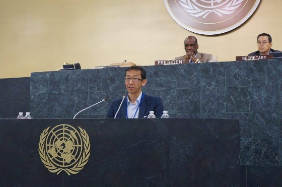 Rodion Sulyandziga speaking at the UN conference on indigenous peoples in New York. Photo from the Facebook page of Indigenous Russia