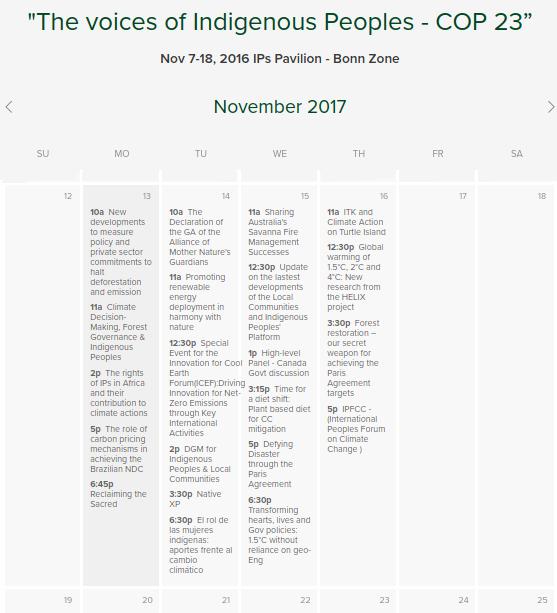 COP23 week II calendar of events IIPFCC Pavilion.png