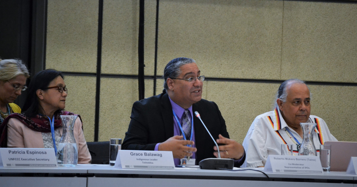 Grace Balawag (at left), Roberto Múkaro Borrero, and Frank Ettawageshik  at the Multi-stakeholder Workshop on 1 May 2018