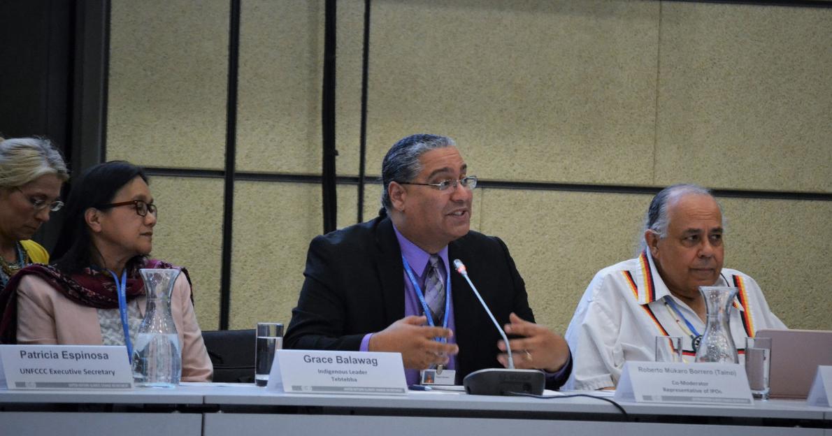 Grace Balawag (at left), Roberto Múkaro Borrero, and Frank Ettawageshik at the Multi-stakeholder Workshop on 1 May 2018