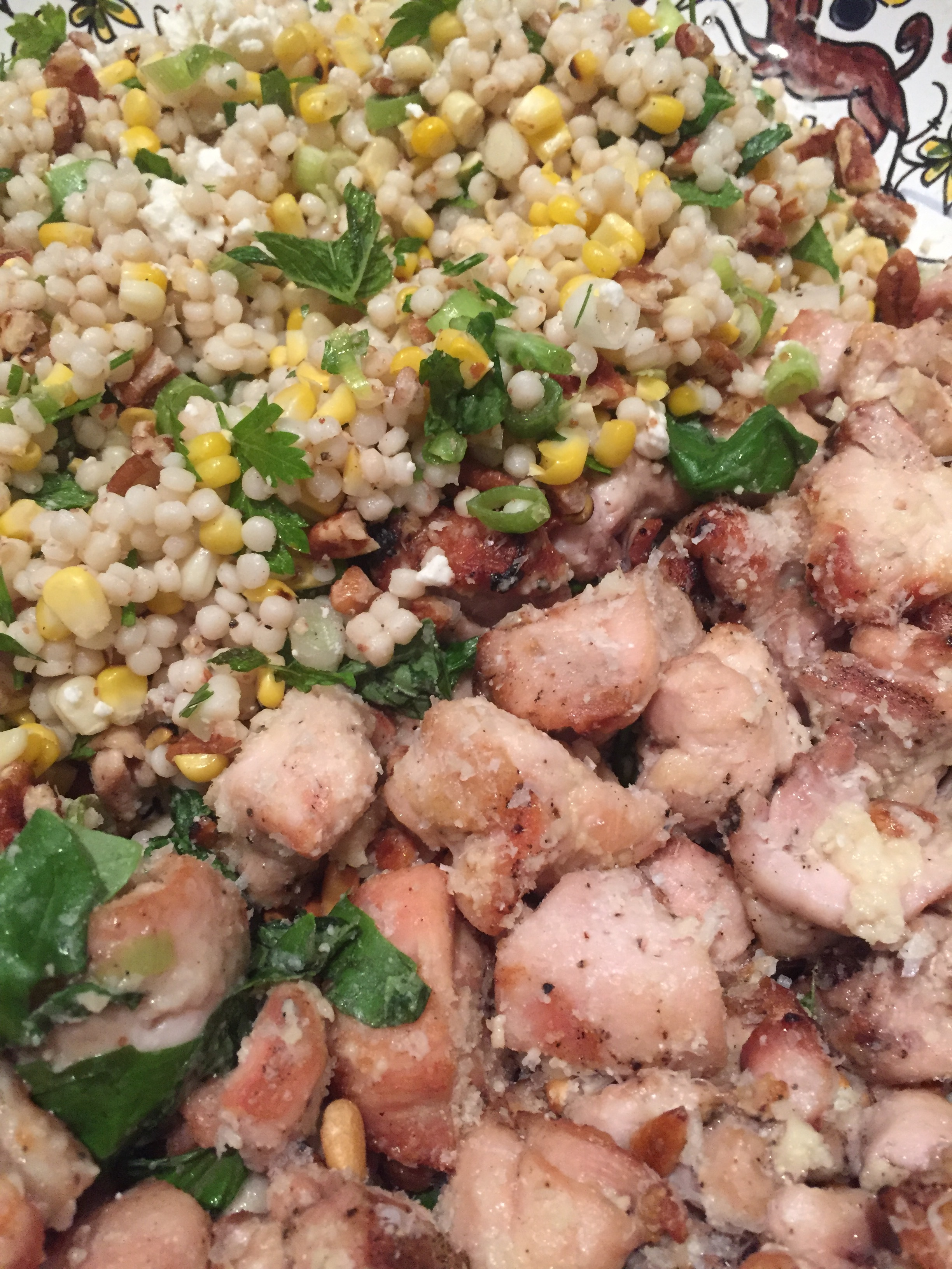 chicken skewers with deconstructed pesto and cous-cous-corn salad