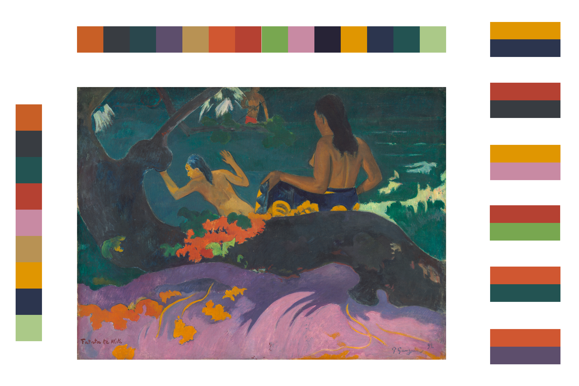 P aul Gauguin painting, Fatata te Miti (By the Sea), with color samples and adjacencies extracted from the painting.