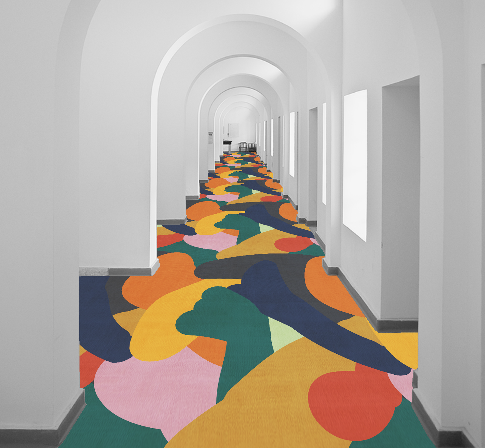 P aul Gauguin's ' Fatata te Miti' (By the Sea) inspired residential rug design. Digitally overlaid on an image of a hospitality hallway.