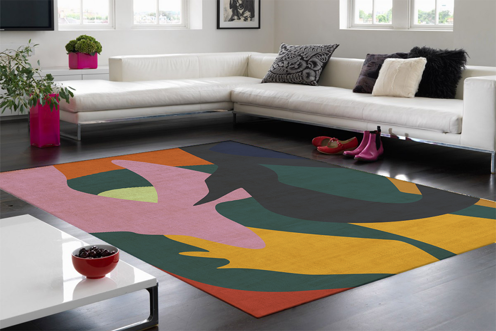 P aul Gauguin's ' Fatata te Miti' (By the Sea) inspired residential rug design. Digitally overlaid on an image of a living room.