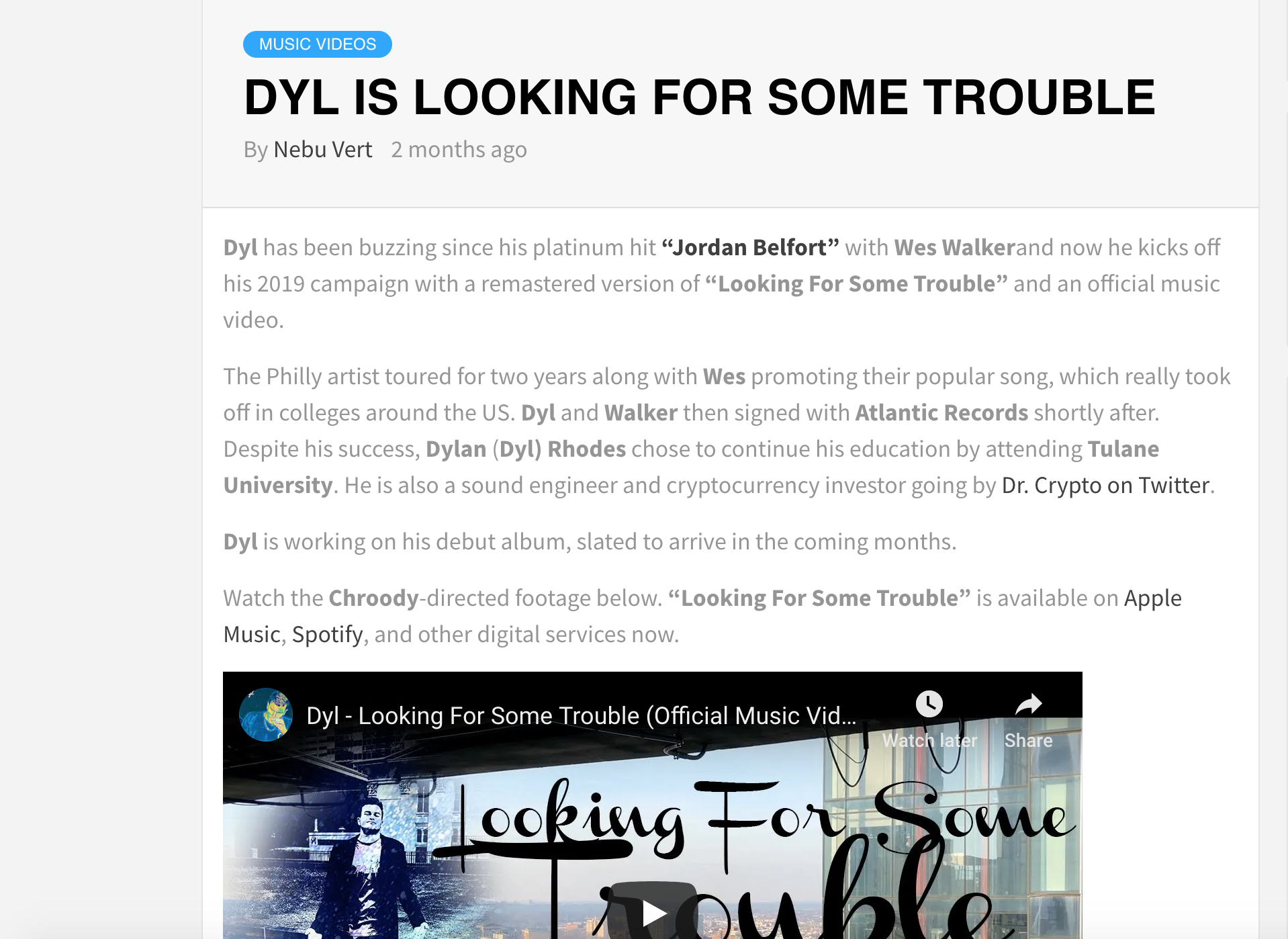 Dyl Looking For Some Trouble Press Release