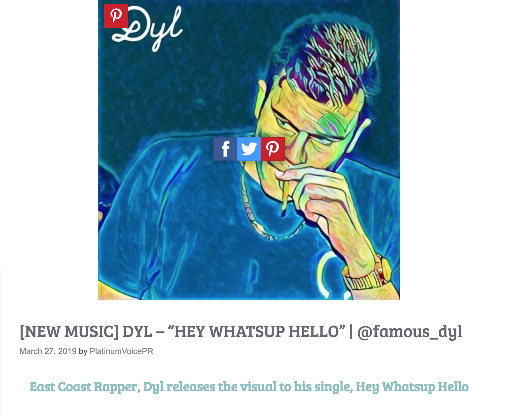 Dyl Hey Whatsup Hello Press Release