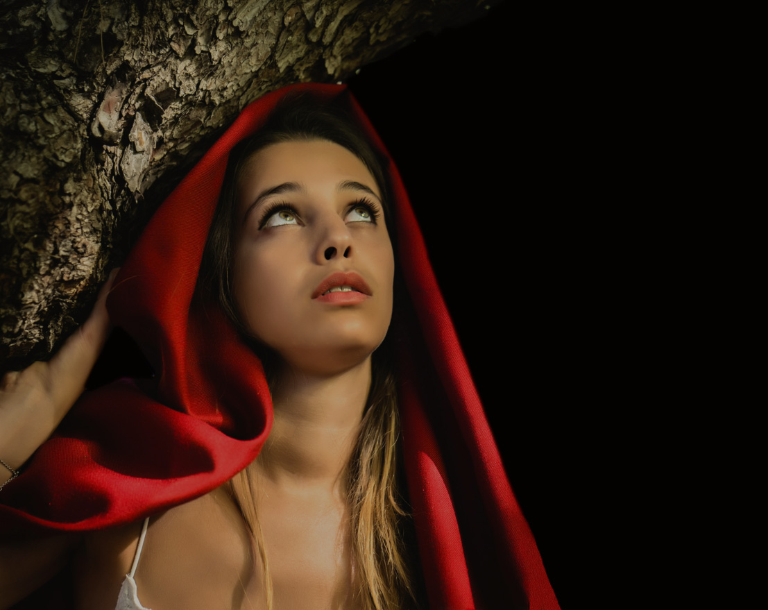 Red riding hood themed shoot