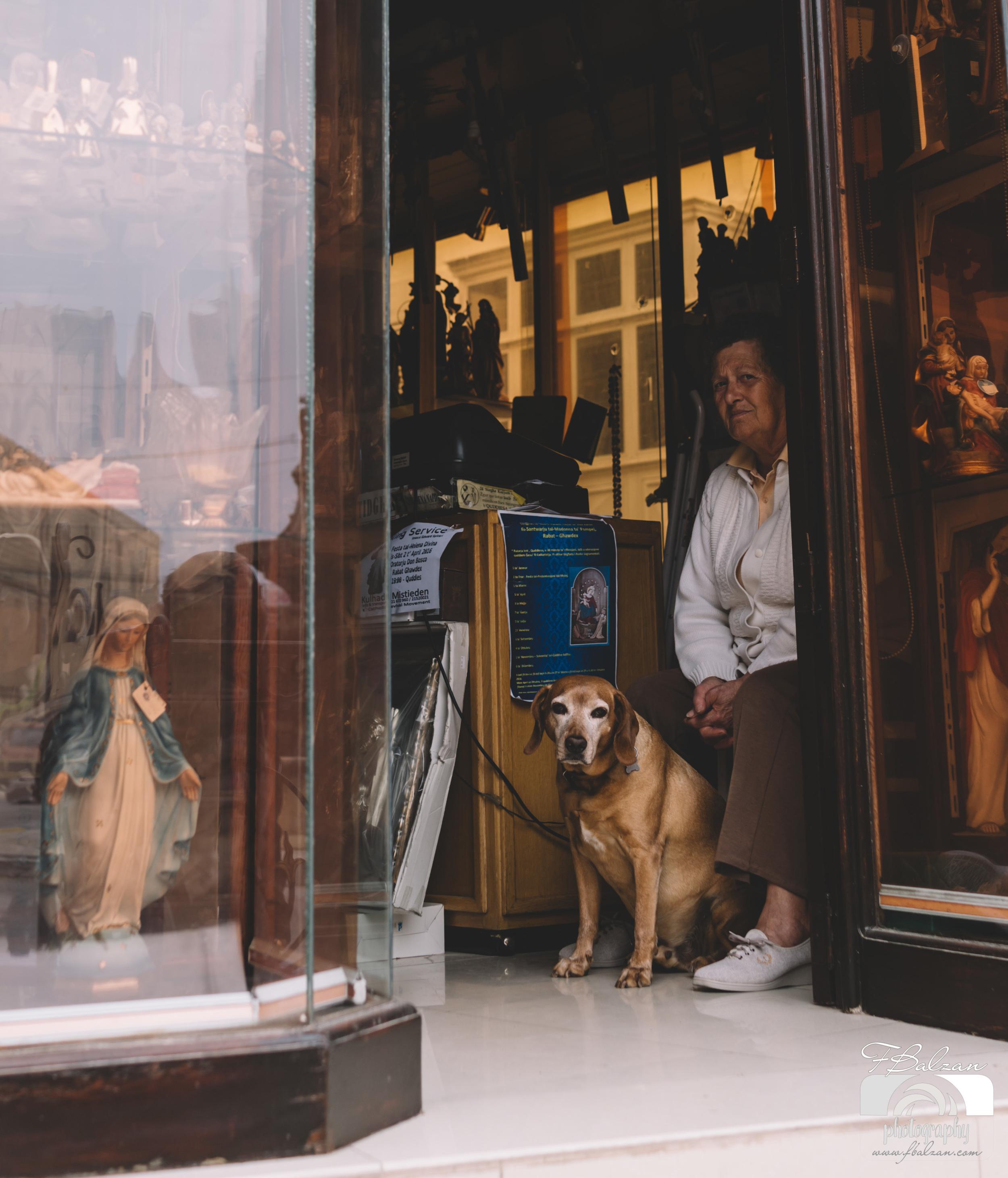 Peeking through the shop