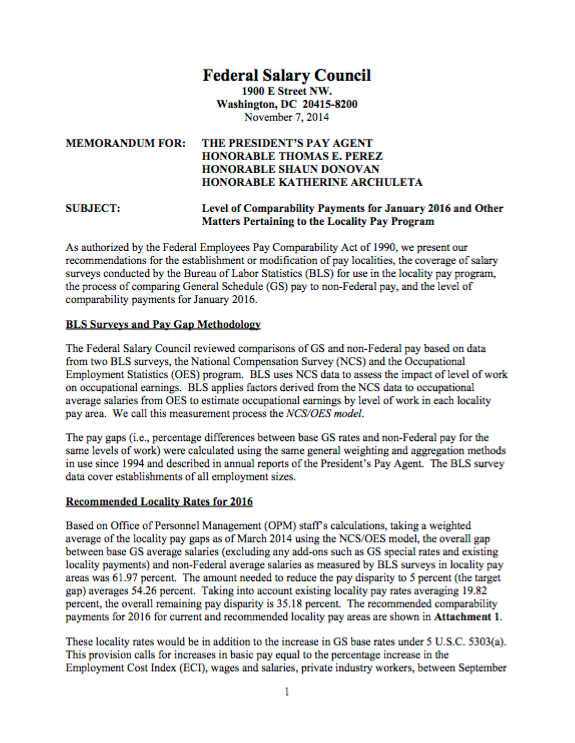 The Federal Salary Council's November 7, 2015 memorandum on the pay gap between GS employees and the private sector.