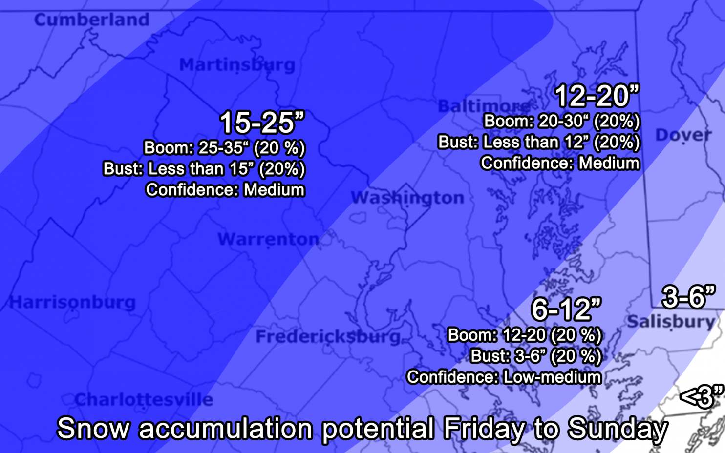 Capital Weather Gang's Wednesday snow total predicton.