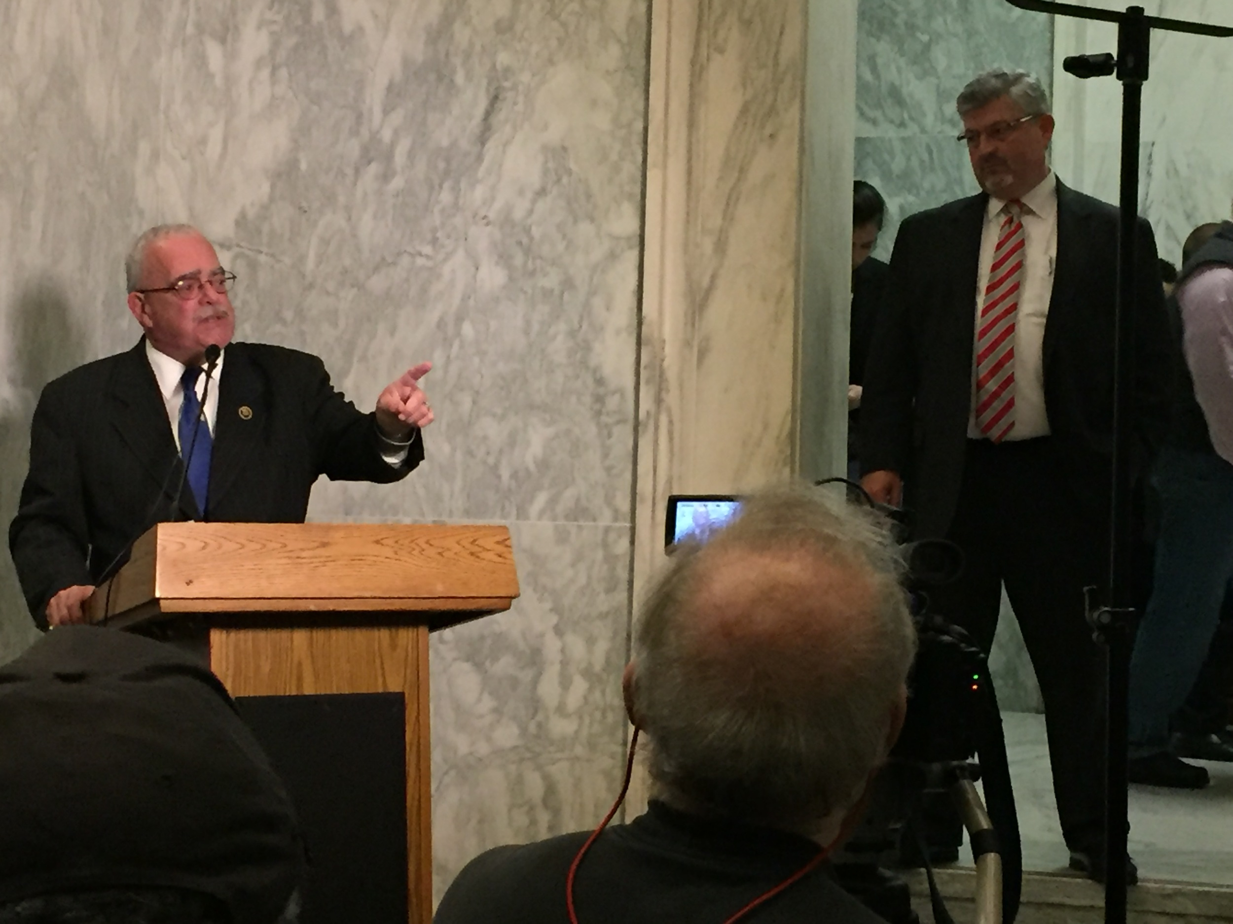 Northern Virginia Congressman Gerry Connolly addresses NTEU members while NTEU President Tony Reardon looks on during the evening congressional reception.