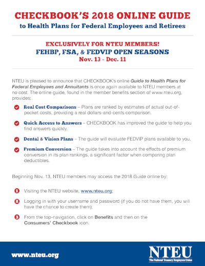 NTEU members get free access to the Washington Consumer's Checkbook health plan comparison tool.