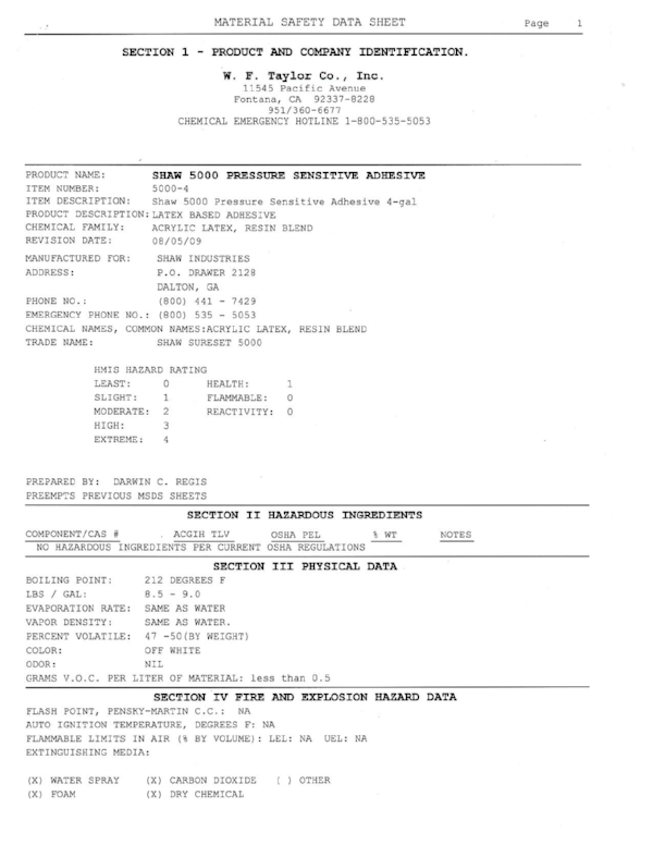 Carpet glue material safety data sheet (MSDS). Click to download.