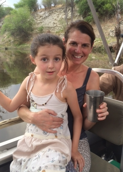 Taking a boat ride in Magkadigkadi National Park across the river from Meno a Kwena.