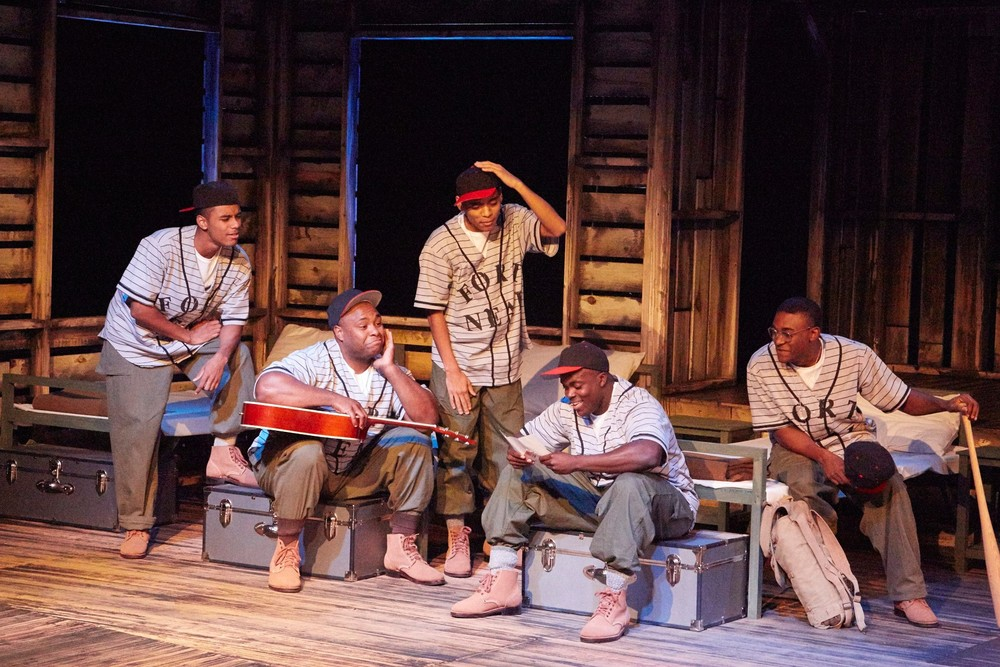 Khalil Adams, Larry Moore, Nieko White, Nana Coleman, and Freddie Fulton in  A Soldier's Play . Photo: Eric Salmon