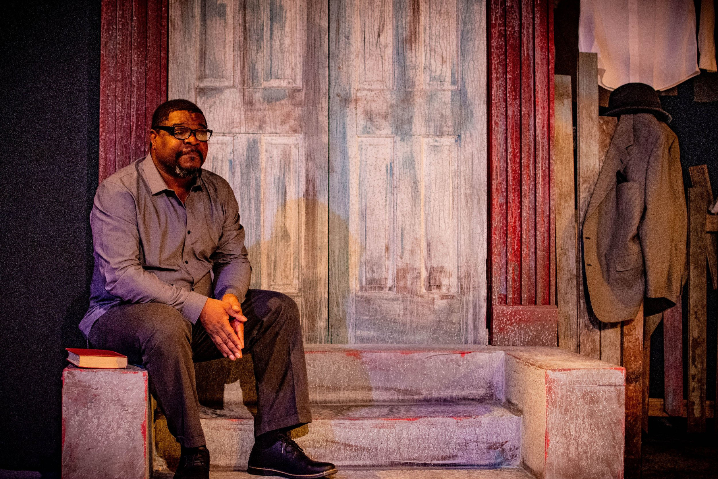 Aaron Smith as August Wilson, How I Learned What I Learned (2019, Riverside Theatre - Iowa City, IA) -Photo Courtesy Steuben B. Farrar