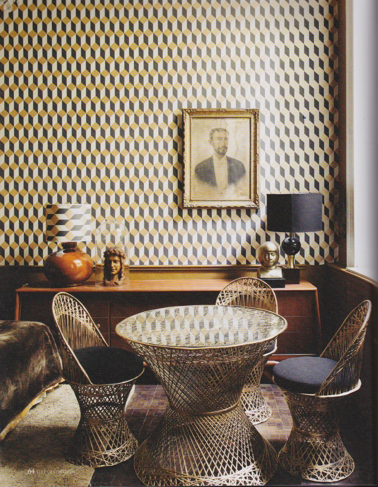 Dinning set (popular in Acapulco in the 50s-60s) by Woodard in ELLE Decoration issue February-March 2017/ Home & Interior Design by Dirk Jan-Kinet/ Mexico City