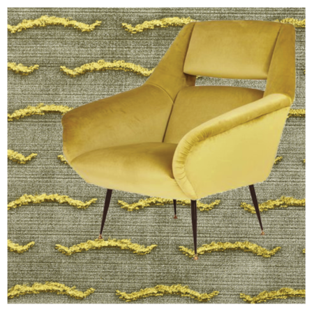 Gigi Radice: Lounge Chairs with Open Backs design by Gigi Radice 1950s Italy. Here suggested to be upholstered with Nouvelles vagues Col4 - Tiger eyes: Textile by DEDAR.