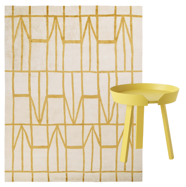 Koloman: Rug by Luc Deflandre & Around: Side table by Thomas Benzten for MUUTO.