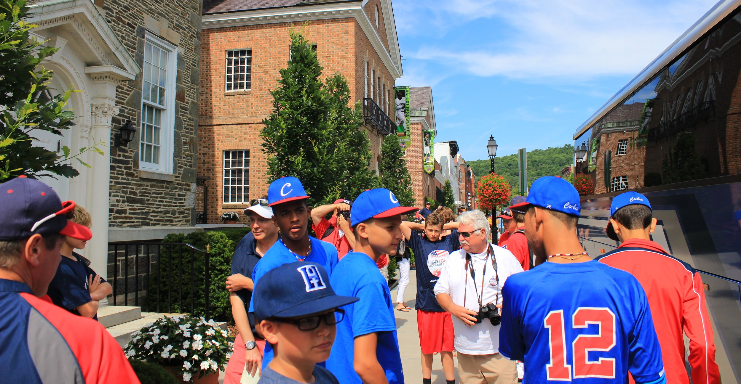 host families, USA and Cuba players in Cooperstown