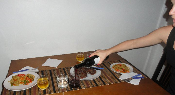 Making up to Jeff by cooking a legit Argentine dinner...veggie noodles, steak and Malbec. *Notice the obvious lack of anything resembling milk.*