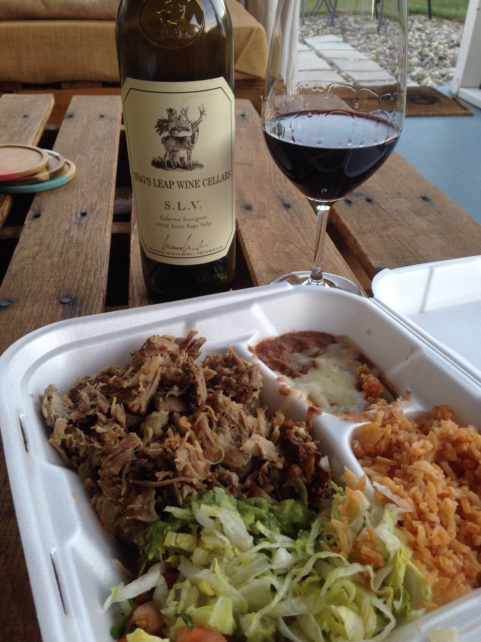 Our first 'Carnitas & Cab' with an '02 Stags Leap 'SLV' Cabernet!