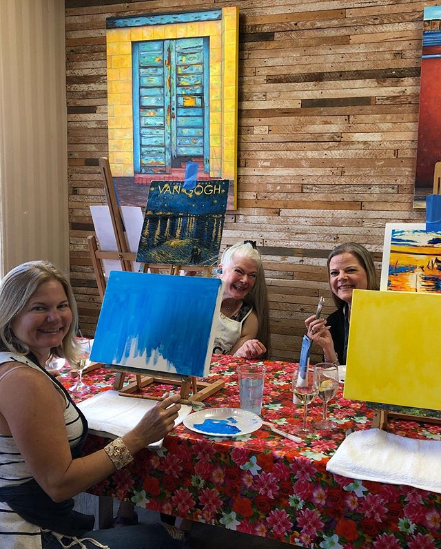 Let the fun continue with painting and wine!! Im happy to say I think we all did pretty good! PS- Sandy's is pic 4 and Grambo's is the last pic! #winemakesmepaint #sandiego #artiste