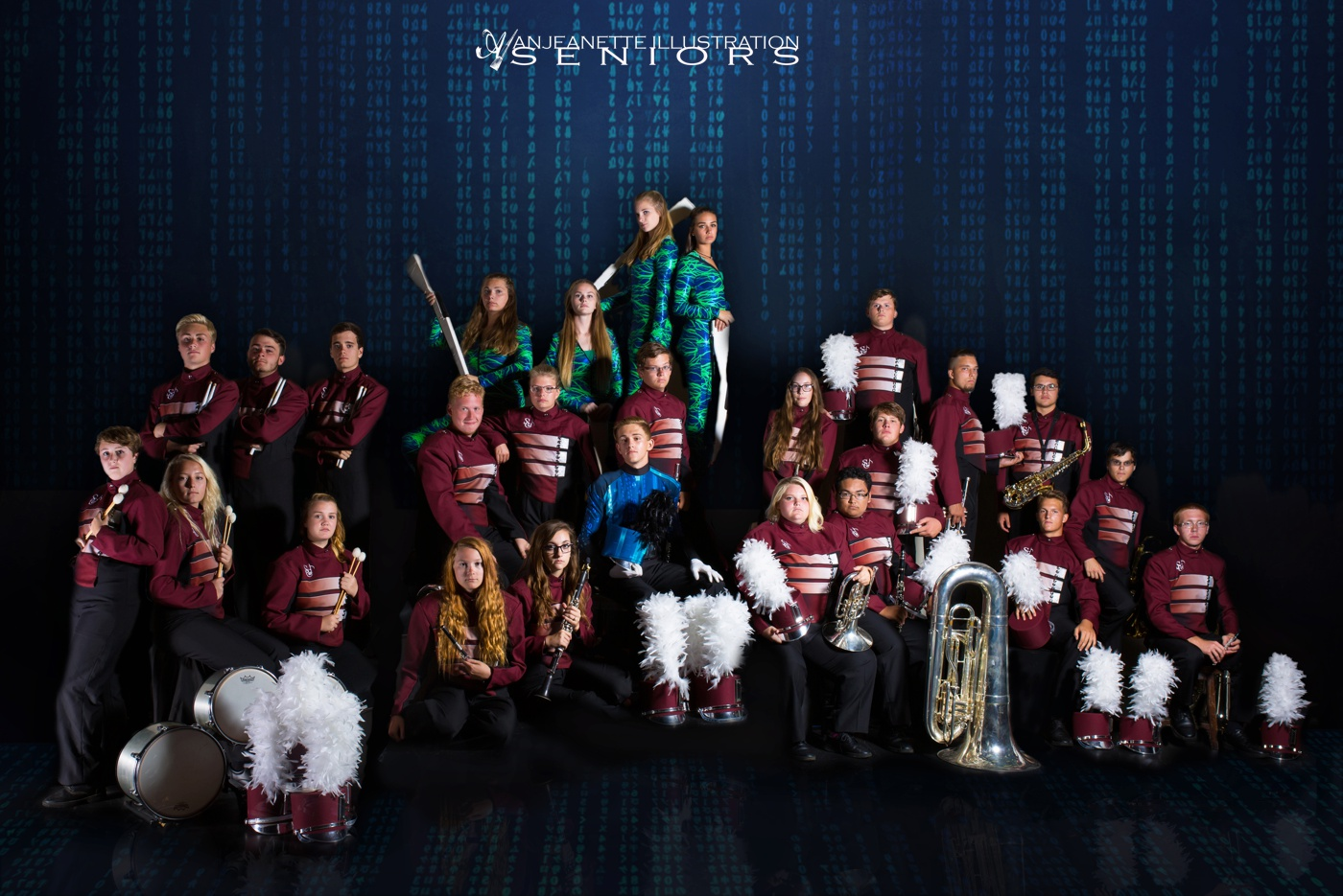 Peoria Az marching band color guard winterguard DCI drum corps WGI senior grad pictures by Anthem Glendale Az high school portrait photographer Anjeanette Photography Phoenix Shadow Mountain