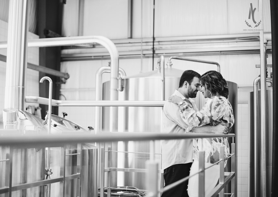 Engagement picture in Blackstone Brewery in Nashville Tennessee