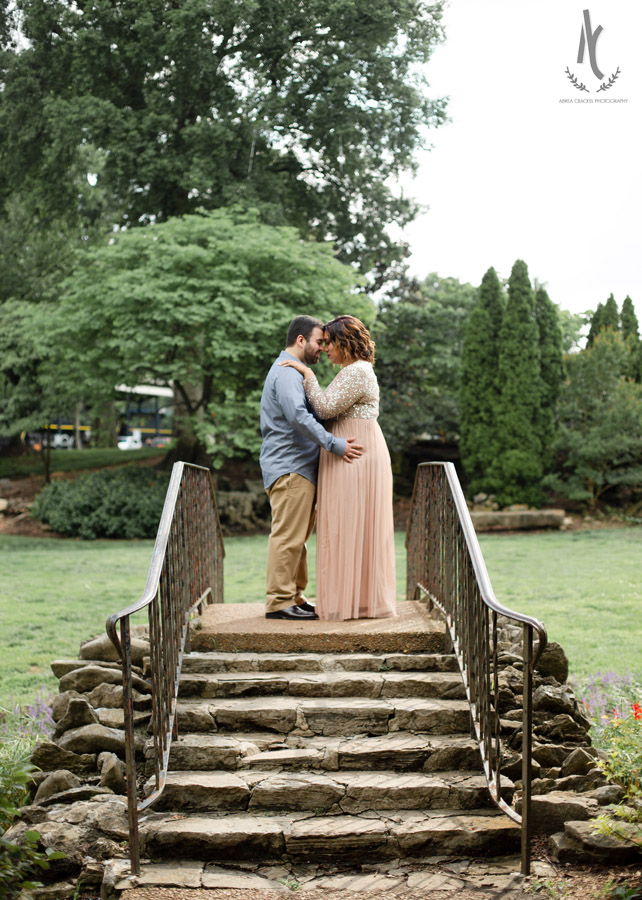 An engagement picture at Centennial Park in Nashville Tennessee