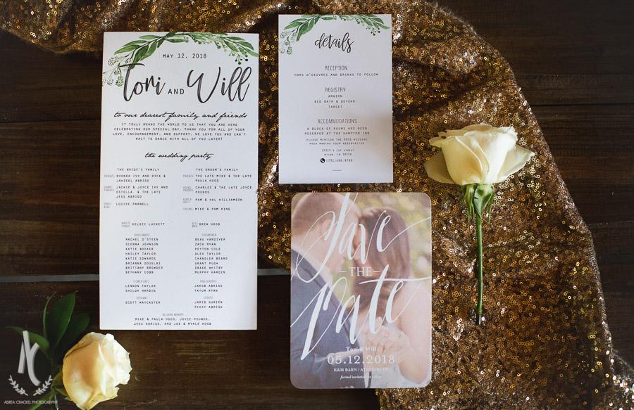 Wedding day stationary flat lay
