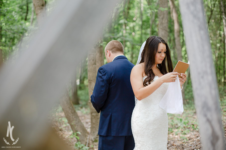 Bride cries as she reads letter from groom