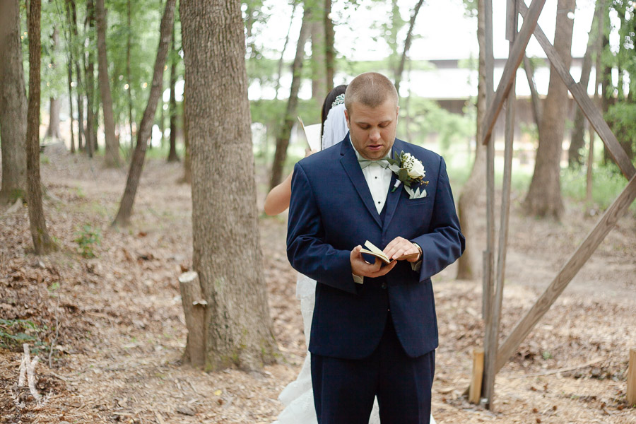 Groom cries as he reads letter from bride