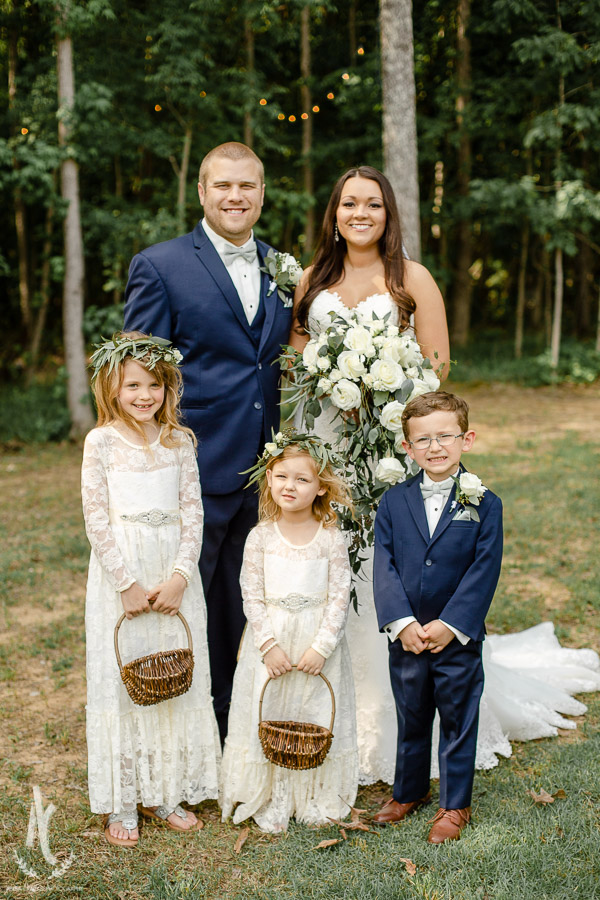 Bride & Groom with flower girls and ring bearer