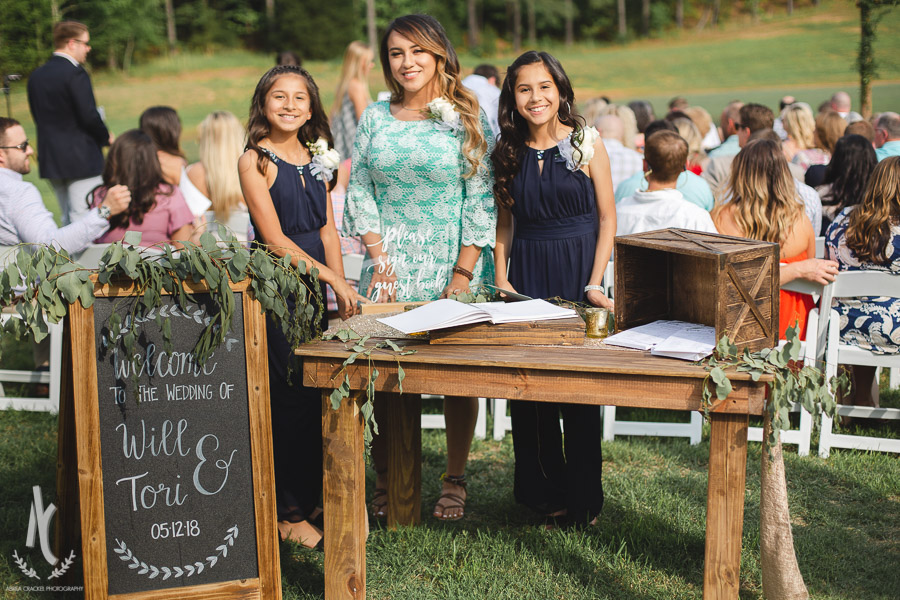 Sign in table for outdoor ceremony