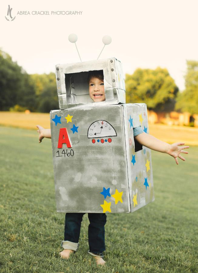 Robot birthday DIY costume for toddler boy