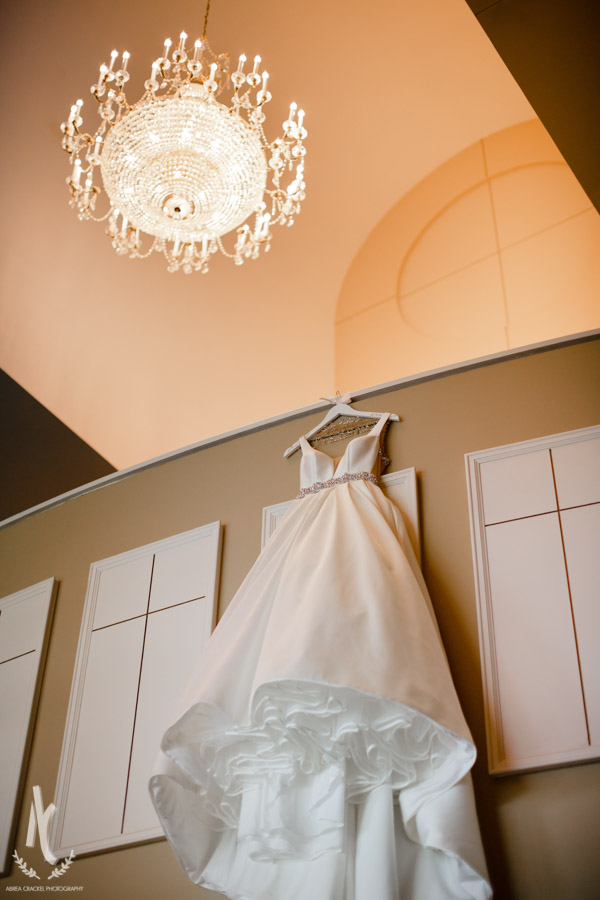 Taylor's beautiful wedding gown hanging in Second Baptist Church, Union City TN