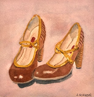 Once I had darkened the shoes themselves, I wanted more warmth in the background, so I added another very pale glaze of perylene maroon.
