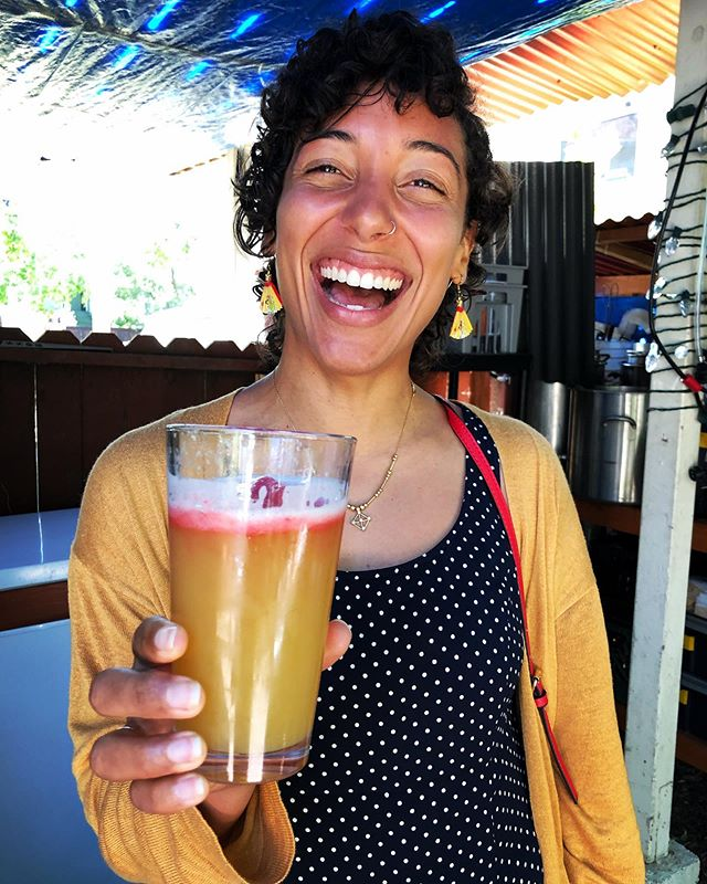 Brunch vibes. This NEIPA with strawberry juice on top matches Marlim's outfit. #homebrew #hazyipa
