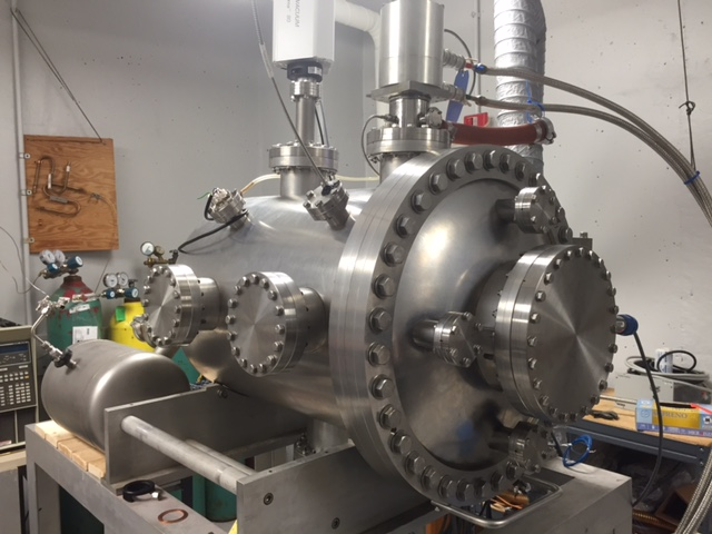 The completed Pluto Chamber setup at the W.M. Keck Laboratory for Planetary Simulations at the University of Arkansas.
