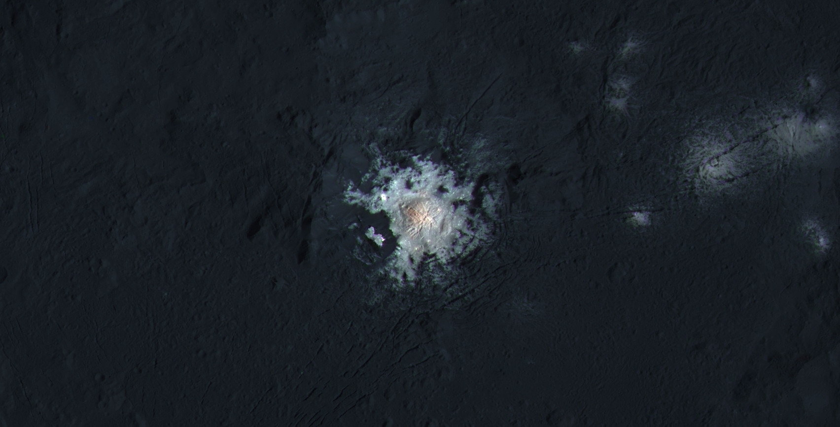 Center of Occator Crater in enhanced color! Image credit: NASA Dawn