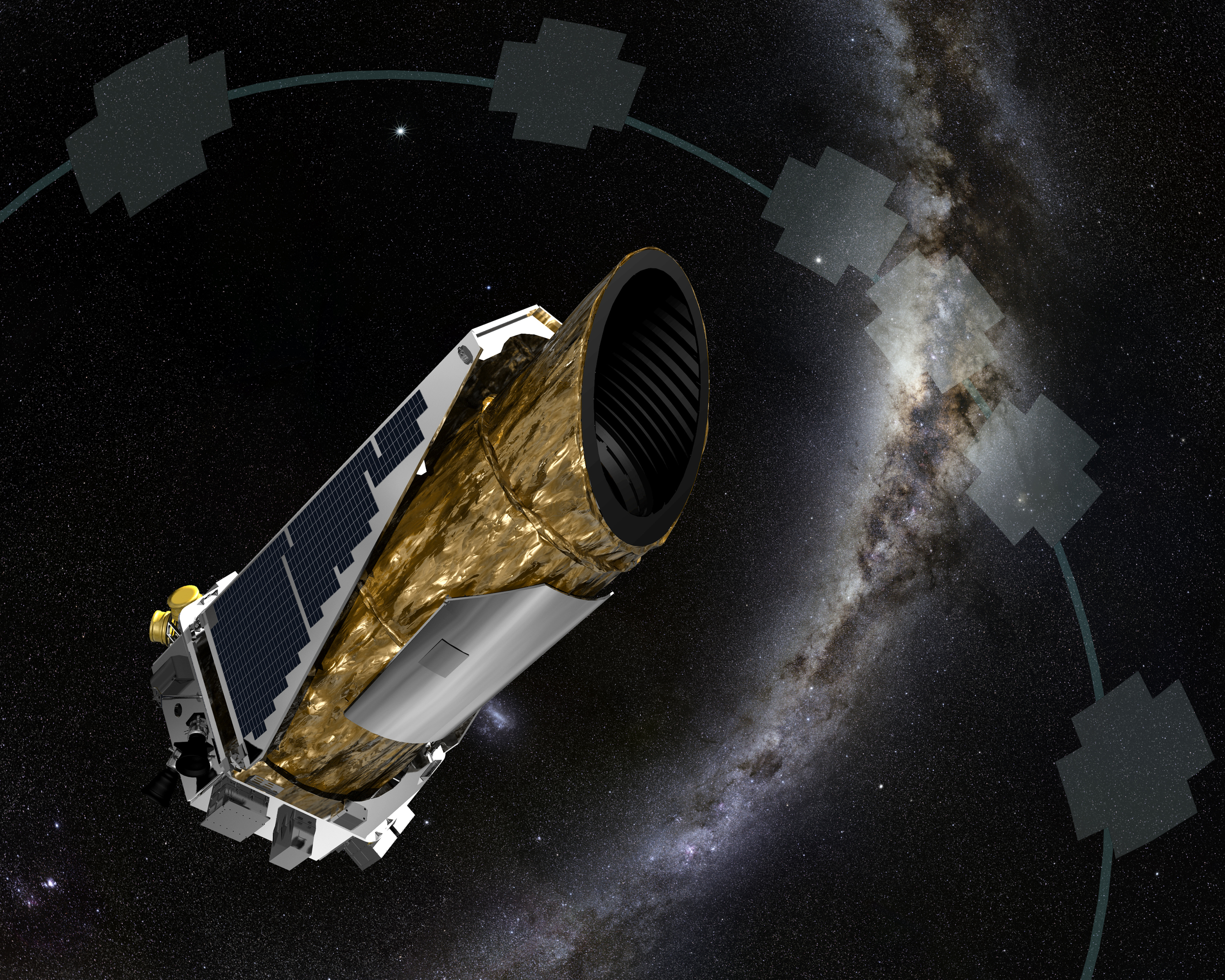 "NASA K2 instrument concept. The gray boxes are ""swaths"" of data that it would investigate across our own galaxy, especially toward the center. Image credit: NASA-Kepler/K2"