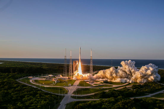 Atlas V rocket holding the OSIRIS-REx payload at take-off. Credit: United Launch Alliance.