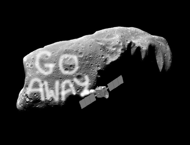 Asteroid Graffiti might be our answer to deflect near-Earth asteroids! Images: NASA/Hyland, D. et al. Illustration: Wired
