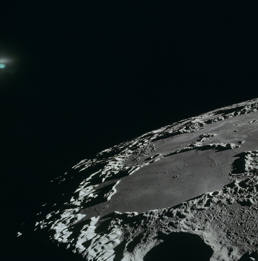 Apollo 15 image of the Sea of Ingenuity and Thomson Crater. Credit: The Project Apollo Archive.