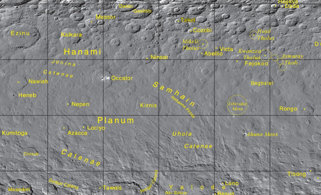 Crater names on Ceres are named after worldly deities of agriculture! Image credit: IAU
