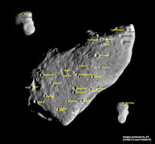 The asteroid, Gaspra, with its worldly-spa-location names! Credit: IAU.